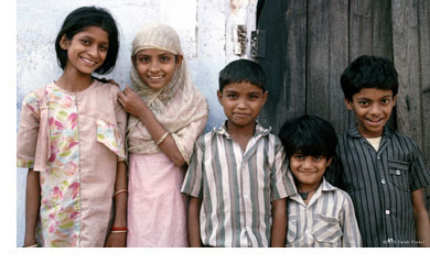 A group of Muslim children in India