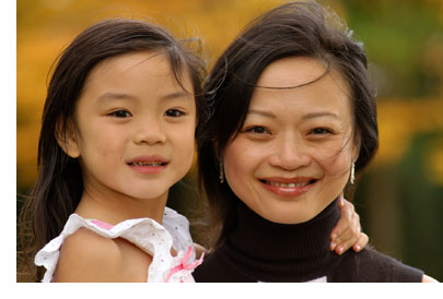 Chinese mom and daughter